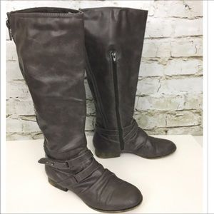 Bakers distressed gray wide calf riding boots